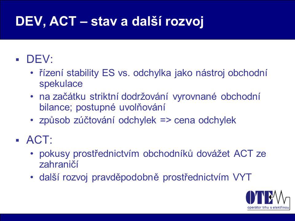 DEV, ACT – stav a další rozvoj  DEV: řízení stability ES vs.