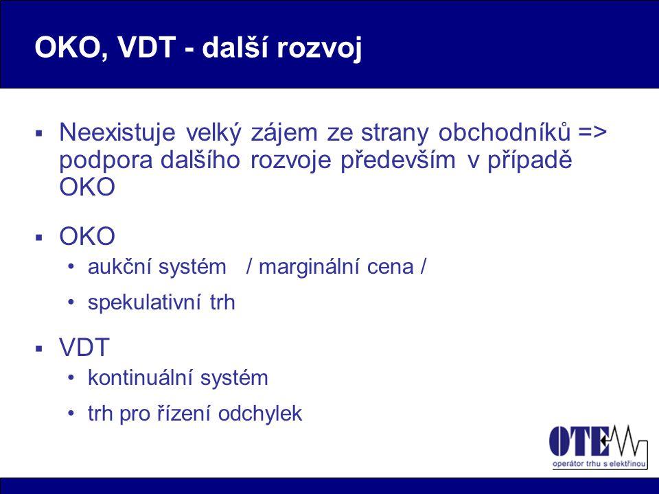 OKO, VDT - další rozvoj  Neexistuje velký zájem ze strany obchodníků => podpora dalšího rozvoje především v případě OKO  OKO aukční systém / marginální cena / spekulativní trh  VDT kontinuální systém trh pro řízení odchylek