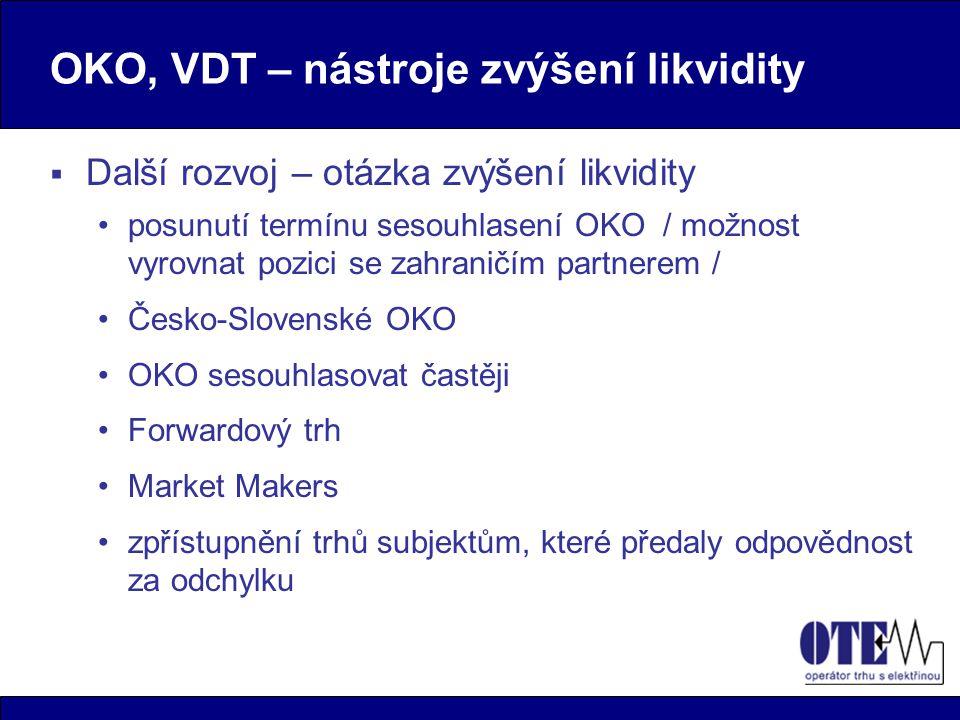OKO, VDT – nástroje zvýšení likvidity  Další rozvoj – otázka zvýšení likvidity posunutí termínu sesouhlasení OKO / možnost vyrovnat pozici se zahraničím partnerem / Česko-Slovenské OKO OKO sesouhlasovat častěji Forwardový trh Market Makers zpřístupnění trhů subjektům, které předaly odpovědnost za odchylku