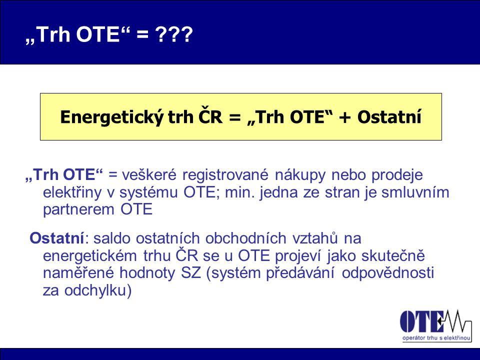 """""""Trh OTE = ??. """"Trh OTE = veškeré registrované nákupy nebo prodeje elektřiny v systému OTE; min."""