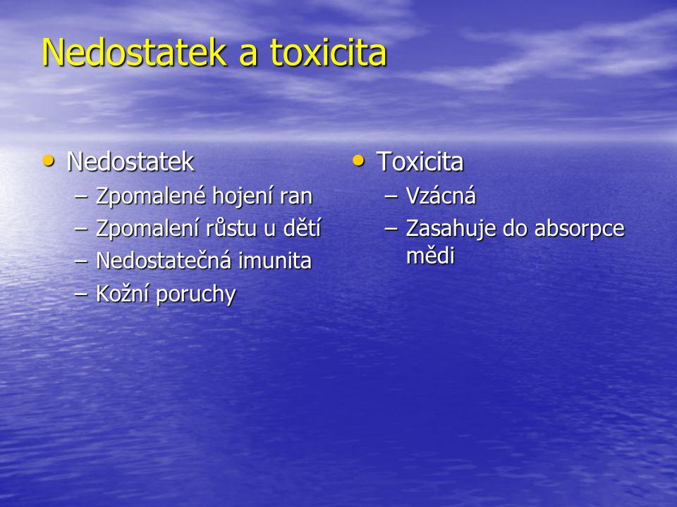 Nedostatek a toxicita Nedostatek Nedostatek –Zpomalené hojení ran –Zpomalení růstu u dětí –Nedostatečná imunita –Kožní poruchy Toxicita Toxicita –Vzác