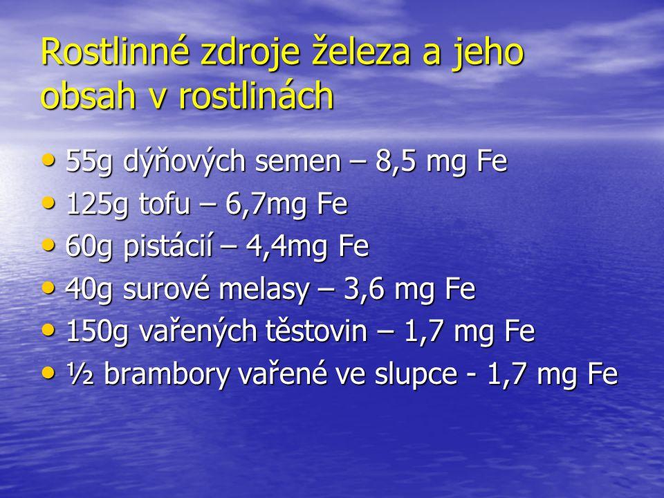 Rostlinné zdroje železa a jeho obsah v rostlinách 55g dýňových semen – 8,5 mg Fe 55g dýňových semen – 8,5 mg Fe 125g tofu – 6,7mg Fe 125g tofu – 6,7mg