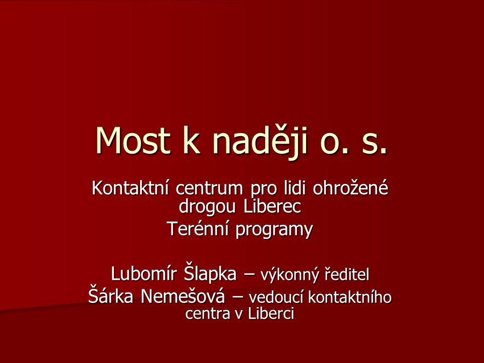 Most k naději o. s. Kontaktní centrum pro lidi ohrožené drogou Liberec Terénní programy Lubomír Šlapka – výkonný ředitel Šárka Nemešová – vedoucí kont
