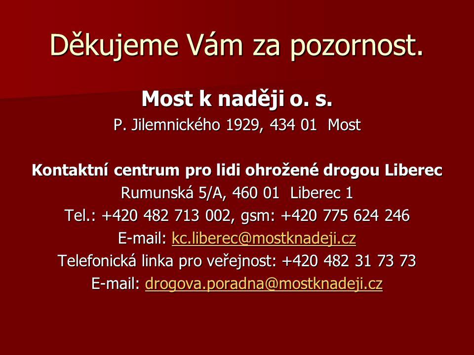 Děkujeme Vám za pozornost. Most k naději o. s. P. Jilemnického 1929, 434 01 Most Kontaktní centrum pro lidi ohrožené drogou Liberec Rumunská 5/A, 460