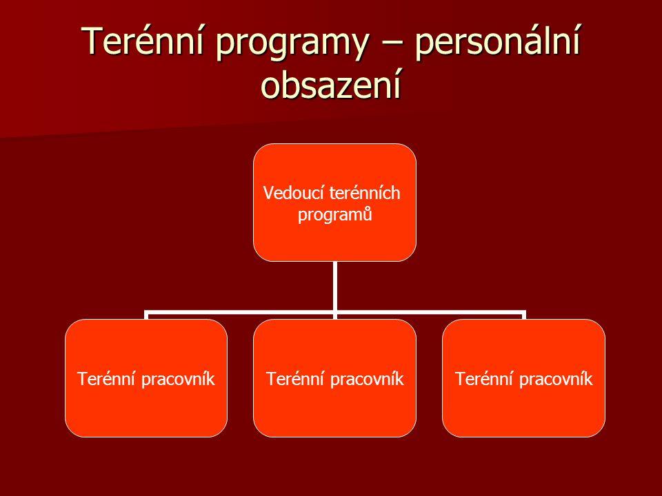 Terénní programy – personální obsazení Vedoucí terénních programů Terénní pracovník