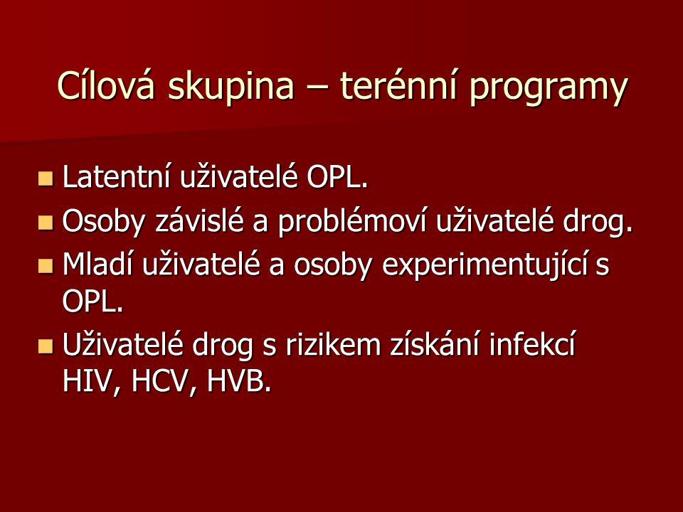 Cílová skupina – terénní programy Latentní uživatelé OPL. Latentní uživatelé OPL. Osoby závislé a problémoví uživatelé drog. Osoby závislé a problémov