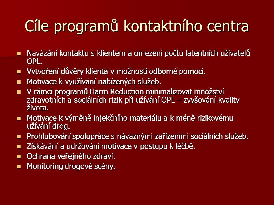 Cíle programů kontaktního centra Navázání kontaktu s klientem a omezení počtu latentních uživatelů OPL. Navázání kontaktu s klientem a omezení počtu l