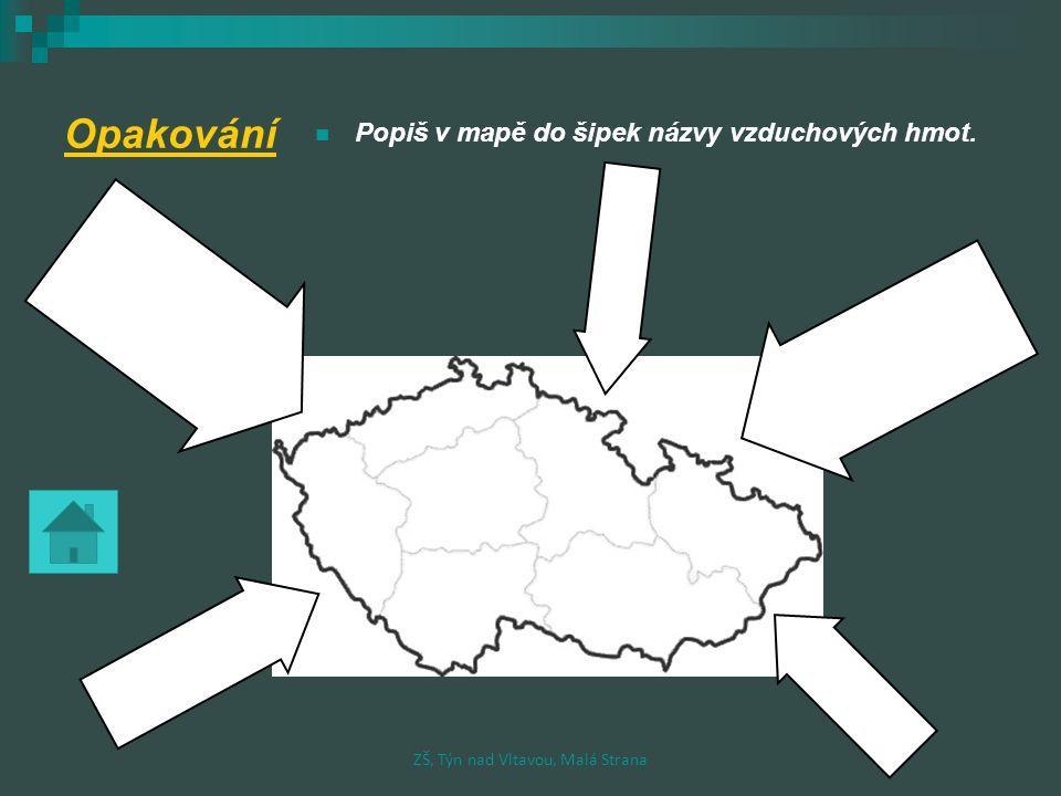 Opakování Popiš v mapě do šipek názvy vzduchových hmot. ZŠ, Týn nad Vltavou, Malá Strana