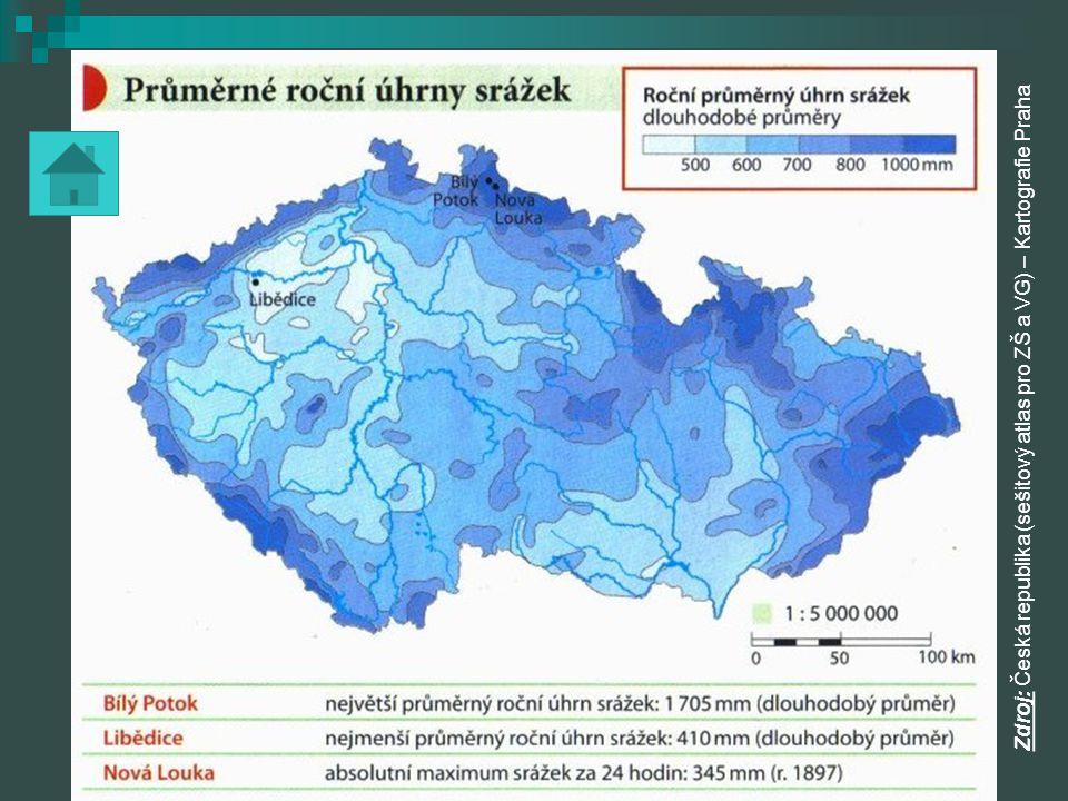 Podnebné oblasti ČR má tři podnebné oblasti: ČR má tři podnebné oblasti:  teplá oblast - nad 50 letních dnů - nejvyšší denní teplota nad 25 0 C - nadmořská výška do 300 m.n.m.