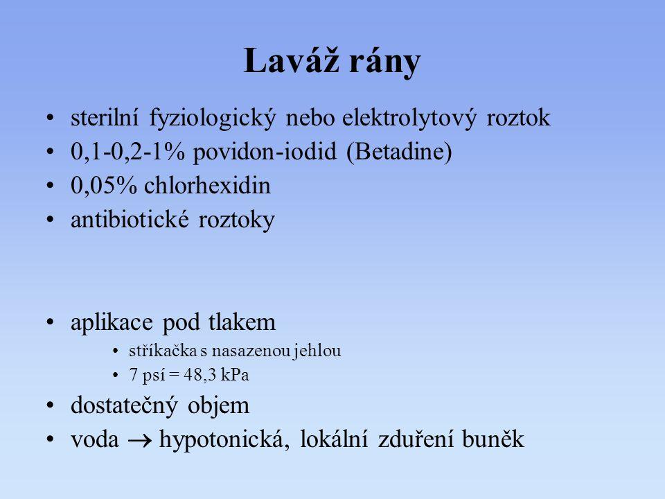 Laváž rány sterilní fyziologický nebo elektrolytový roztok 0,1-0,2-1% povidon-iodid (Betadine) 0,05% chlorhexidin antibiotické roztoky aplikace pod tl