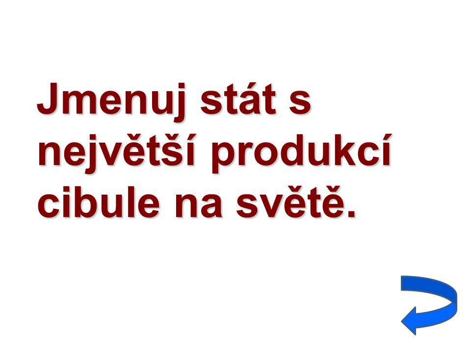 Jmenuj stát s největší produkcí cibule na světě.