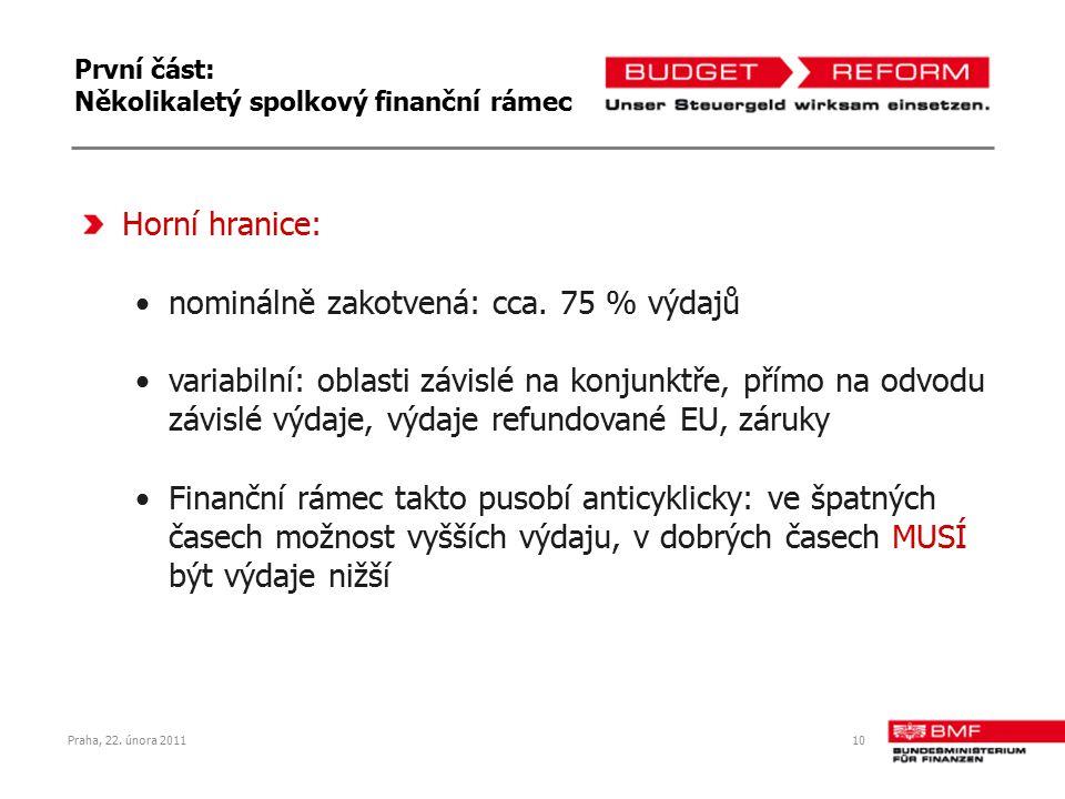 10 První část: Několikaletý spolkový finanční rámec Horní hranice: nominálně zakotvená: cca. 75 % výdajů variabilní: oblasti závislé na konjunktře, př