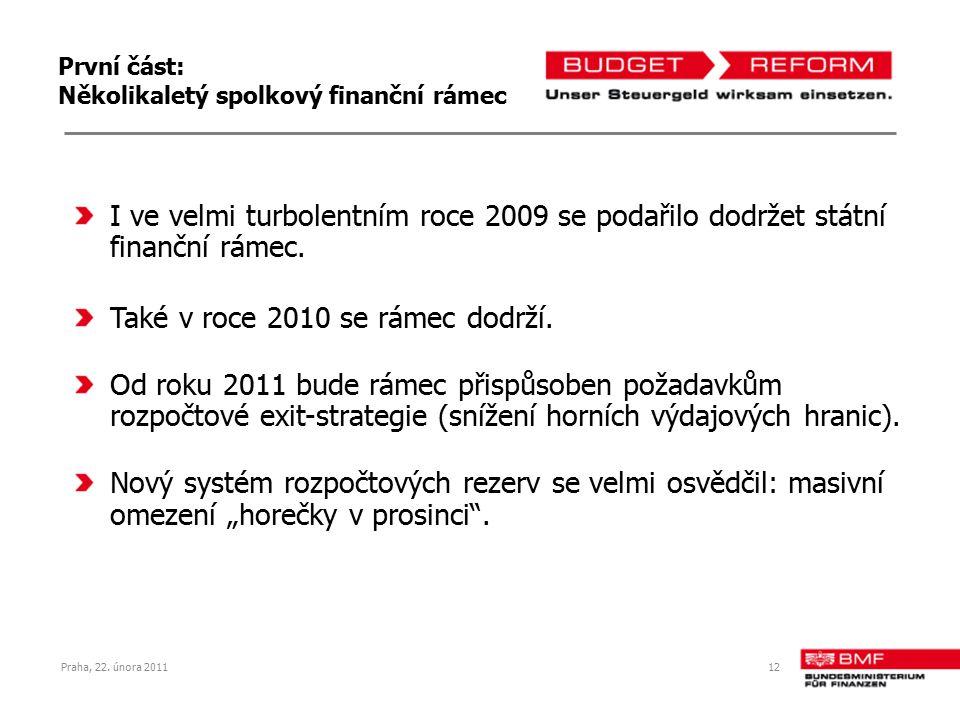 Praha, 22. února 201112 První část: Několikaletý spolkový finanční rámec I ve velmi turbolentním roce 2009 se podařilo dodržet státní finanční rámec.