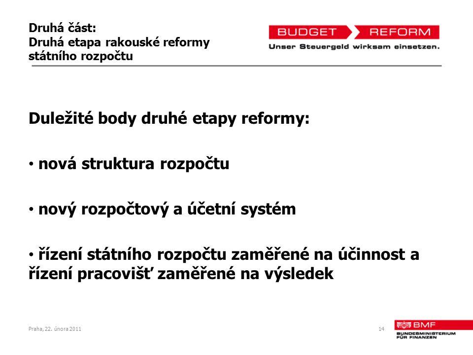 Druhá část: Druhá etapa rakouské reformy státního rozpočtu Duležité body druhé etapy reformy: nová struktura rozpočtu nový rozpočtový a účetní systém řízení státního rozpočtu zaměřené na účinnost a řízení pracovišť zaměřené na výsledek Praha, 22.