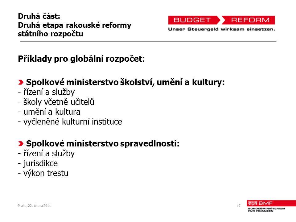 Druhá část: Druhá etapa rakouské reformy státního rozpočtu Příklady pro globální rozpočet: Spolkové ministerstvo školství, umění a kultury: - řízení a