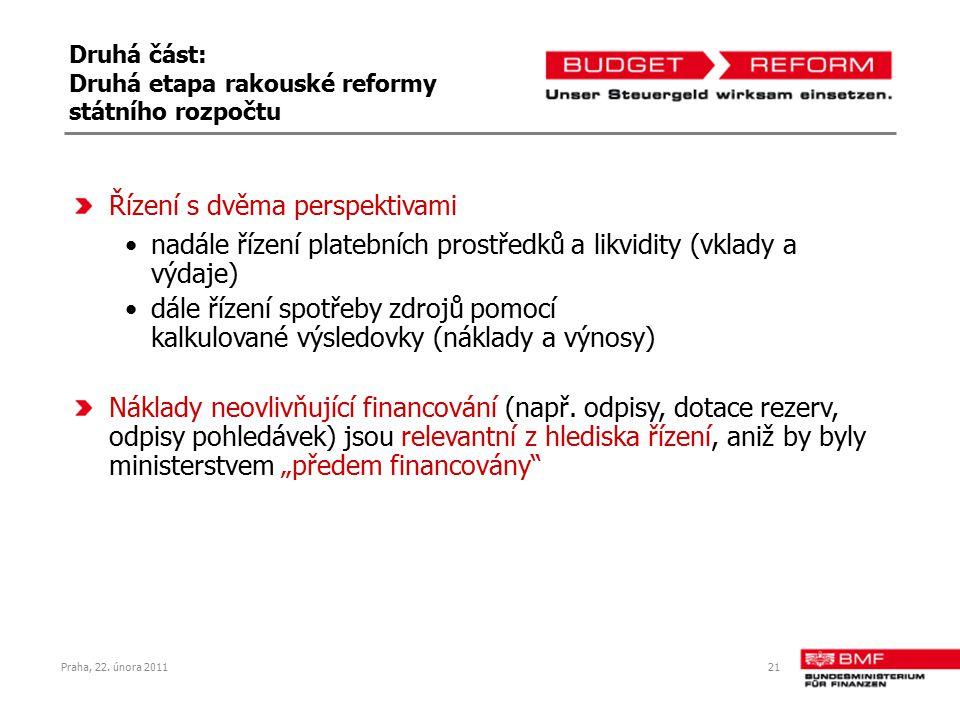 Praha, 22. února 201121 Druhá část: Druhá etapa rakouské reformy státního rozpočtu Řízení s dvěma perspektivami nadále řízení platebních prostředků a