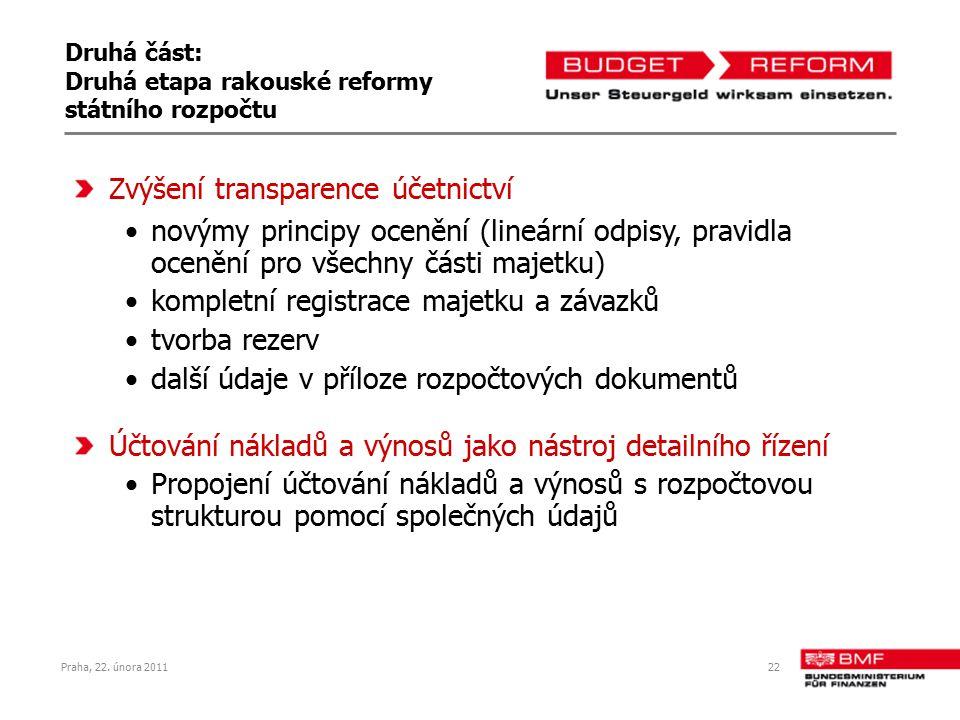 Praha, 22. února 201122 Druhá část: Druhá etapa rakouské reformy státního rozpočtu Zvýšení transparence účetnictví novýmy principy ocenění (lineární o