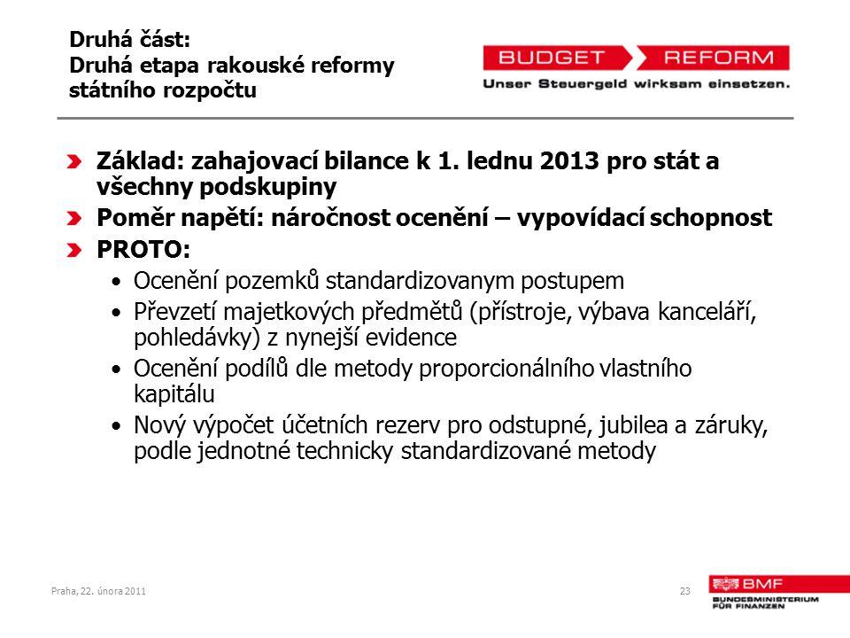 Praha, 22. února 201123 Druhá část: Druhá etapa rakouské reformy státního rozpočtu Základ: zahajovací bilance k 1. lednu 2013 pro stát a všechny podsk