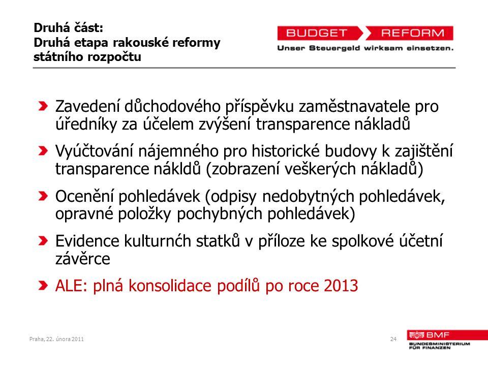 Praha, 22. února 201124 Druhá část: Druhá etapa rakouské reformy státního rozpočtu Zavedení důchodového příspěvku zaměstnavatele pro úředníky za účele