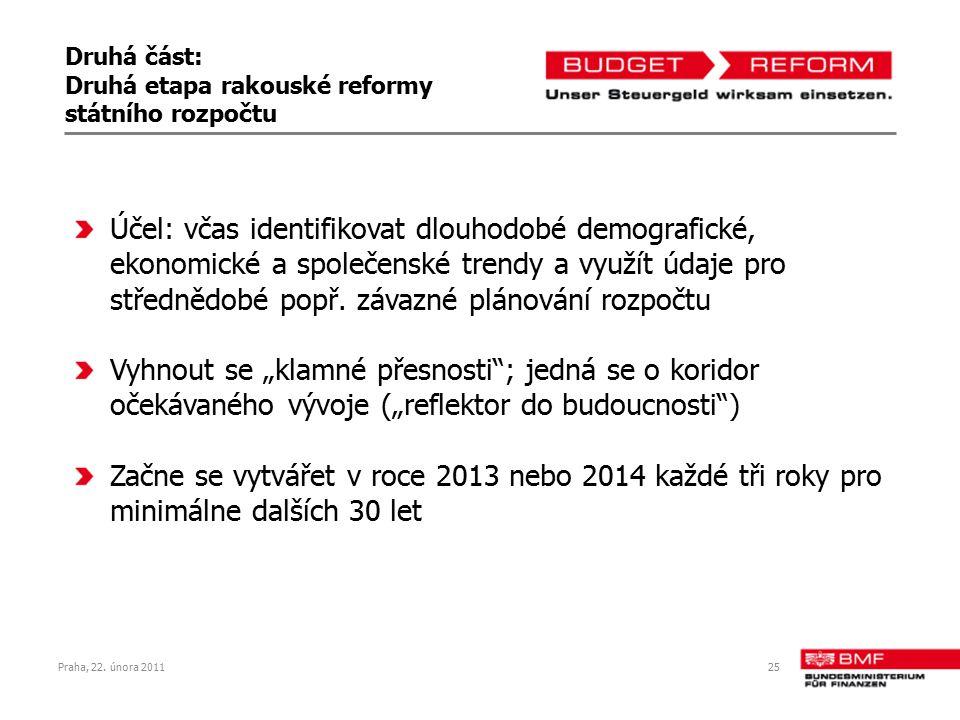 Praha, 22. února 201125 Druhá část: Druhá etapa rakouské reformy státního rozpočtu Účel: včas identifikovat dlouhodobé demografické, ekonomické a spol