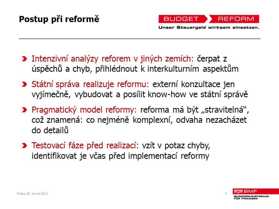 Praha, 22. února 20113 Postup při reformě Intenzivní analýzy reforem v jiných zemích: čerpat z úspěchů a chyb, přihlédnout k interkulturním aspektům S