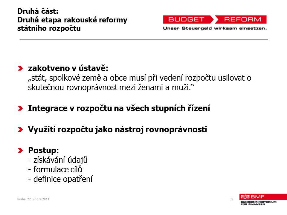 """Druhá část: Druhá etapa rakouské reformy státního rozpočtu zakotveno v ústavě: """"stát, spolkové země a obce musí při vedení rozpočtu usilovat o skutečnou rovnoprávnost mezi ženami a muži. Integrace v rozpočtu na všech stupních řízení Využití rozpočtu jako nástroj rovnoprávnosti Postup: - získávání údajů - formulace cílů - definice opatření Praha, 22."""