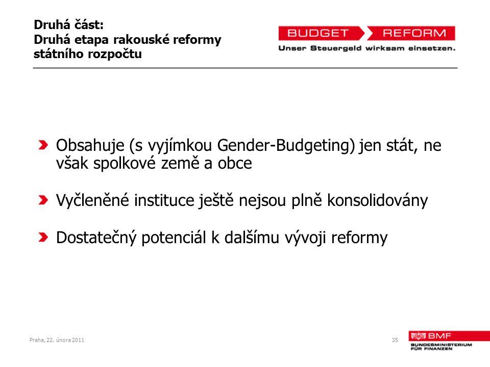 Praha, 22. února 201135 Druhá část: Druhá etapa rakouské reformy státního rozpočtu Obsahuje (s vyjímkou Gender-Budgeting) jen stát, ne však spolkové z