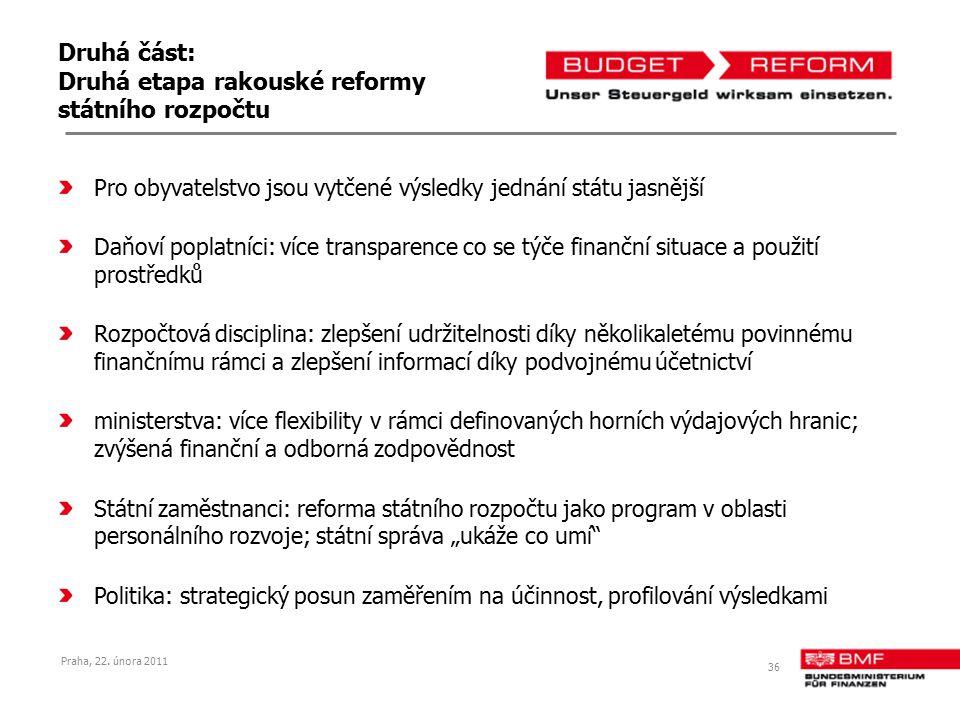 Druhá část: Druhá etapa rakouské reformy státního rozpočtu Pro obyvatelstvo jsou vytčené výsledky jednání státu jasnější Daňoví poplatníci: více trans