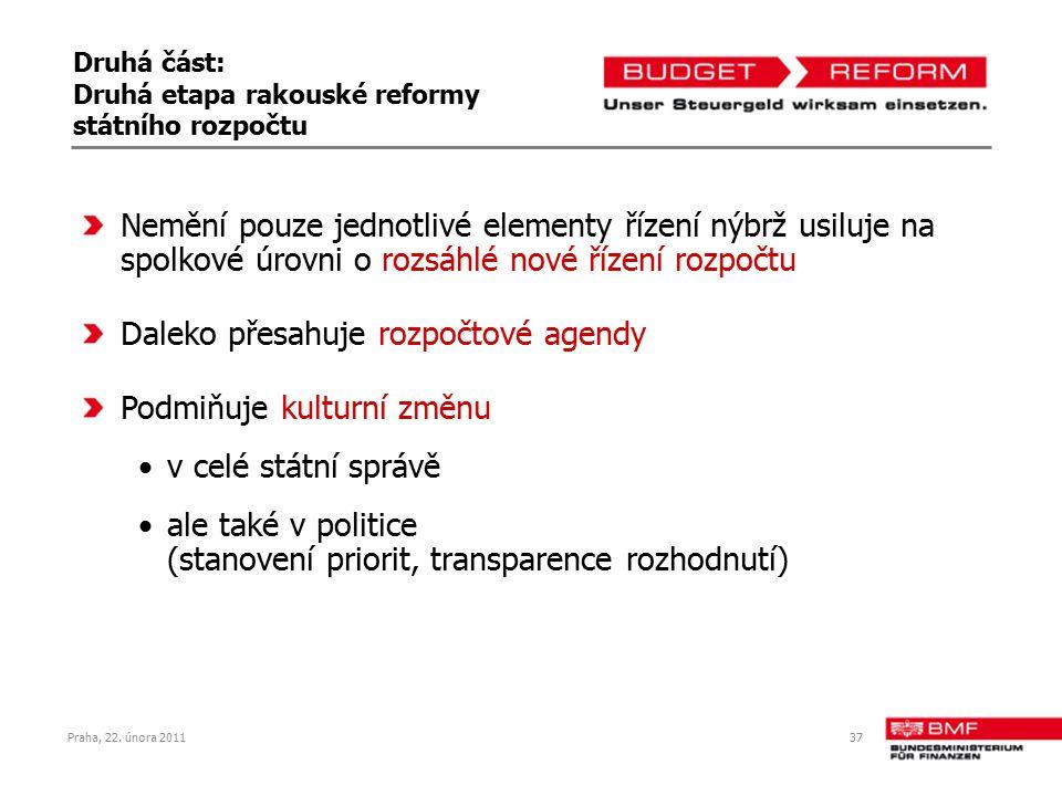Praha, 22. února 201137 Druhá část: Druhá etapa rakouské reformy státního rozpočtu Nemění pouze jednotlivé elementy řízení nýbrž usiluje na spolkové ú