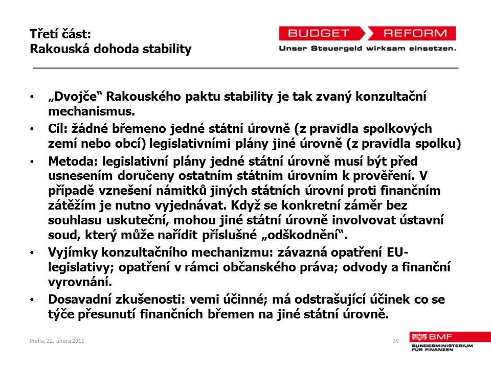 """Třetí část: Rakouská dohoda stability """"Dvojče"""" Rakouského paktu stability je tak zvaný konzultační mechanismus. Cíl: žádné břemeno jedné státní úrovně"""