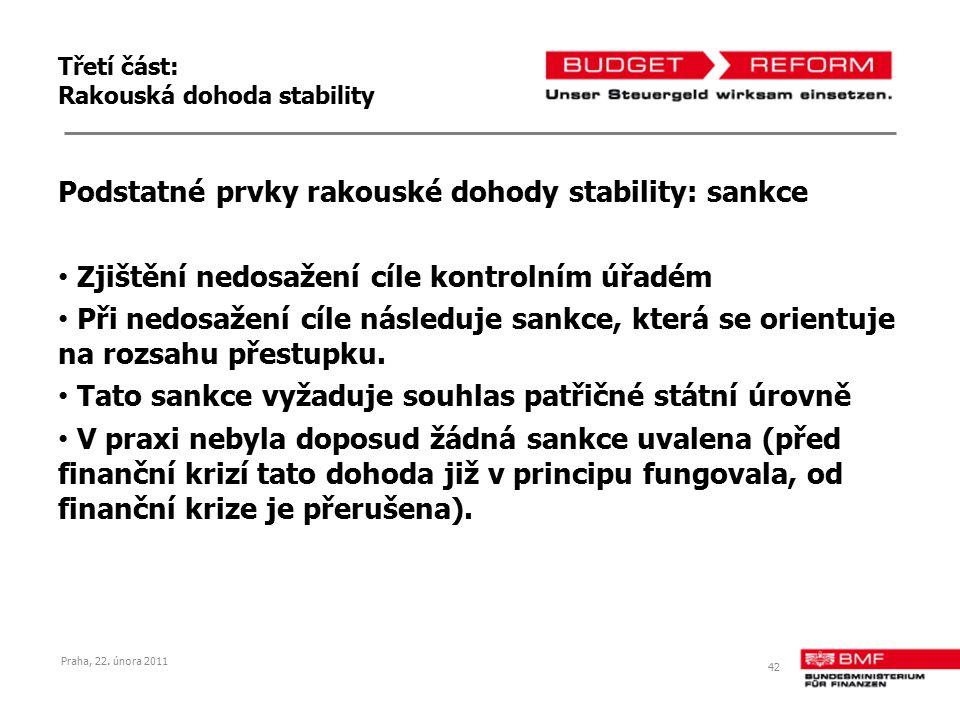 Třetí část: Rakouská dohoda stability Podstatné prvky rakouské dohody stability: sankce Zjištění nedosažení cíle kontrolním úřadém Při nedosažení cíle následuje sankce, která se orientuje na rozsahu přestupku.