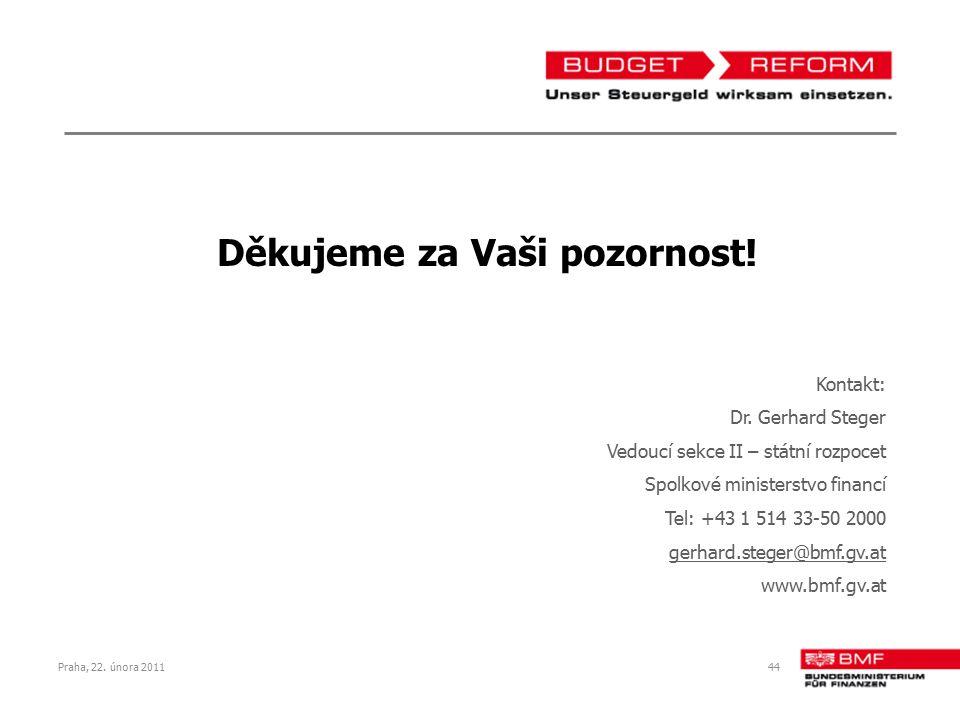 Praha, 22. února 201144 Děkujeme za Vaši pozornost! Kontakt: Dr. Gerhard Steger Vedoucí sekce II – státní rozpocet Spolkové ministerstvo financí Tel: