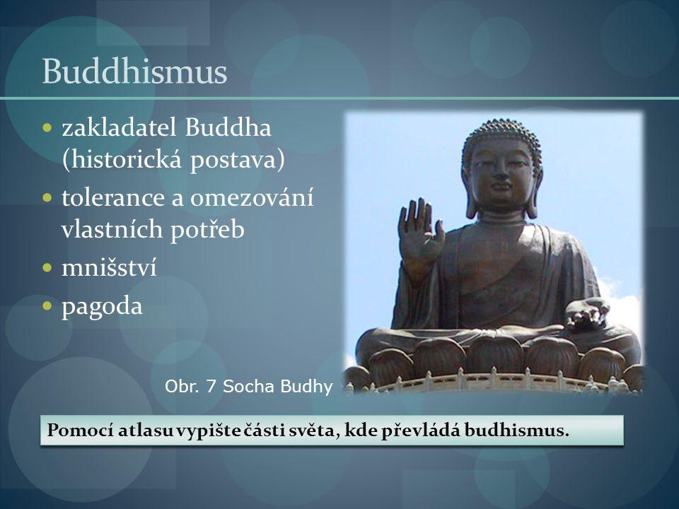 Buddhismus zakladatel Buddha (historická postava) tolerance a omezování vlastních potřeb mnišství pagoda Pomocí atlasu vypište části světa, kde převládá budhismus.