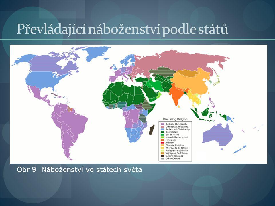 Převládající náboženství podle států Obr 9 Náboženství ve státech světa