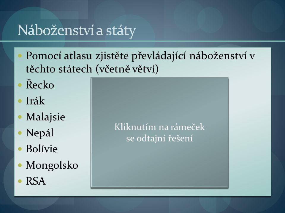 Náboženství a státy Pomocí atlasu zjistěte převládající náboženství v těchto státech (včetně větví) Řeckoortodoxní křesťanství Irákšiítský islám Malajsiesunnitský islám Nepálhinduismus Bolíviekatolické křesťanství Mongolskobuddhismus RSAprotestantské křesťanství Pomocí atlasu zjistěte převládající náboženství v těchto státech (včetně větví) Řeckoortodoxní křesťanství Irákšiítský islám Malajsiesunnitský islám Nepálhinduismus Bolíviekatolické křesťanství Mongolskobuddhismus RSAprotestantské křesťanství