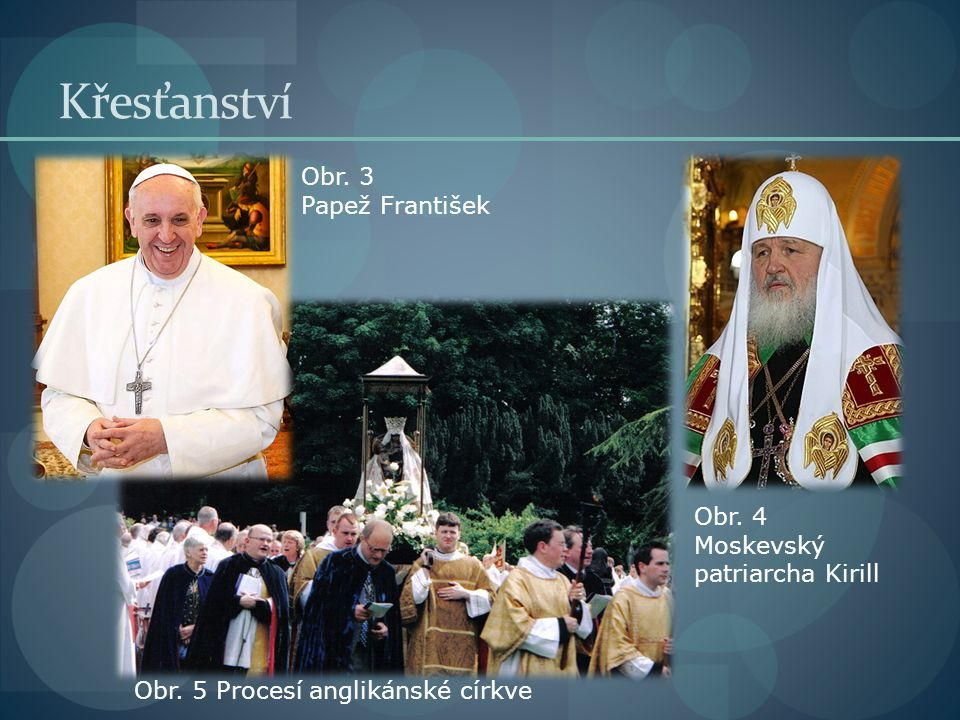 Křesťanství Obr. 3 Papež František Obr. 4 Moskevský patriarcha Kirill Obr. 5 Procesí anglikánské církve