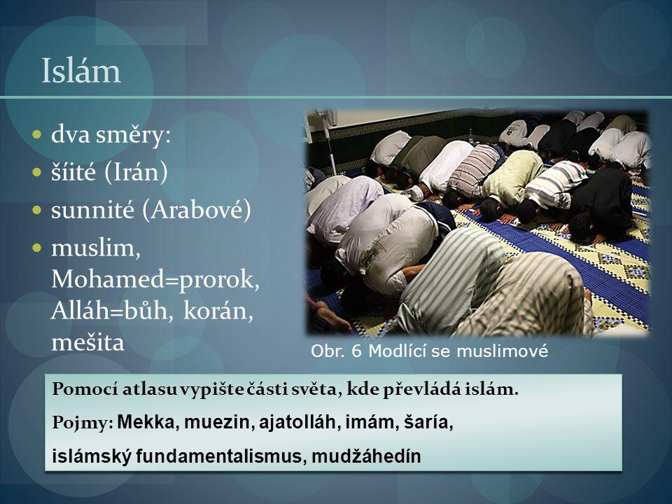 Islám dva směry: šíité (Irán) sunnité (Arabové) muslim, Mohamed=prorok, Alláh=bůh, korán, mešita Pomocí atlasu vypište části světa, kde převládá islám
