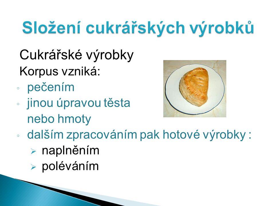Cukrářské výrobky Korpus vzniká: ◦ pečením ◦ jinou úpravou těsta nebo hmoty ◦ dalším zpracováním pak hotové výrobky :  naplněním  poléváním