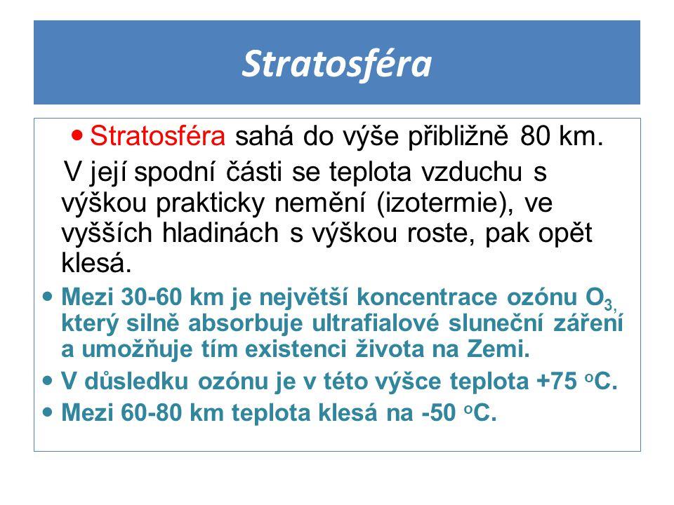 Stratosféra Stratosféra sahá do výše přibližně 80 km.
