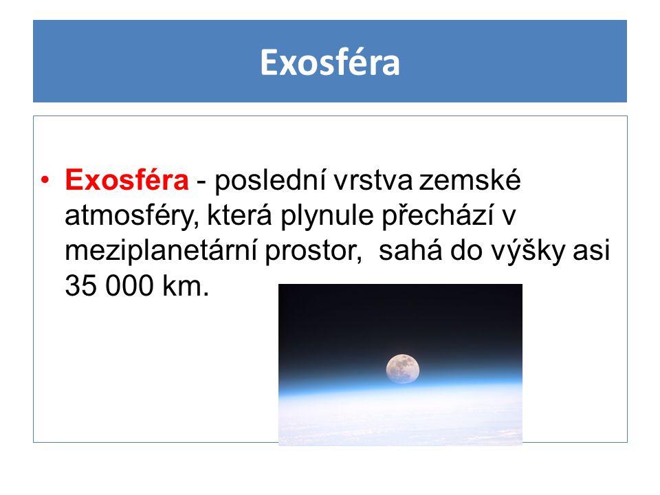 Exosféra Exosféra - poslední vrstva zemské atmosféry, která plynule přechází v meziplanetární prostor, sahá do výšky asi 35 000 km.