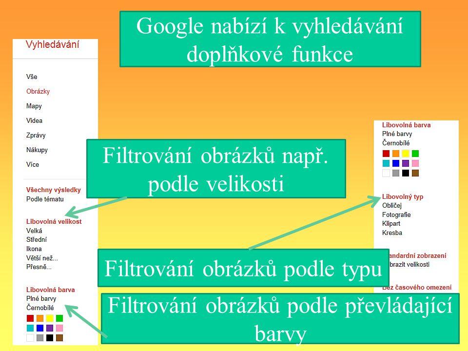 Google nabízí k vyhledávání doplňkové funkce Filtrování obrázků podle typu Filtrování obrázků např.