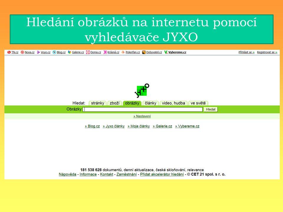 Hledání obrázků na internetu pomocí vyhledávače JYXO