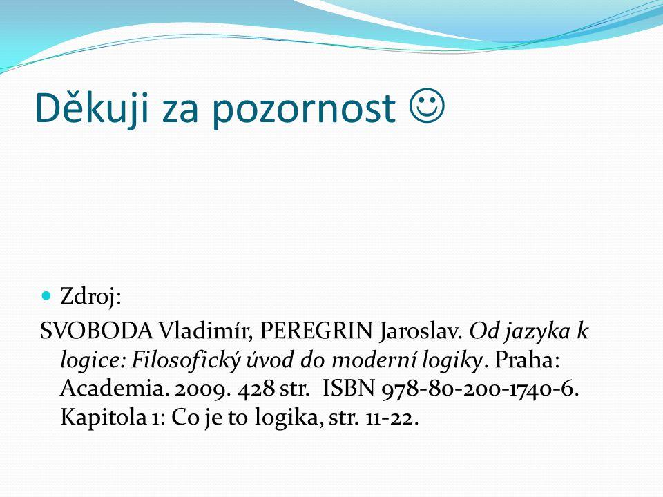 Děkuji za pozornost Zdroj: SVOBODA Vladimír, PEREGRIN Jaroslav.