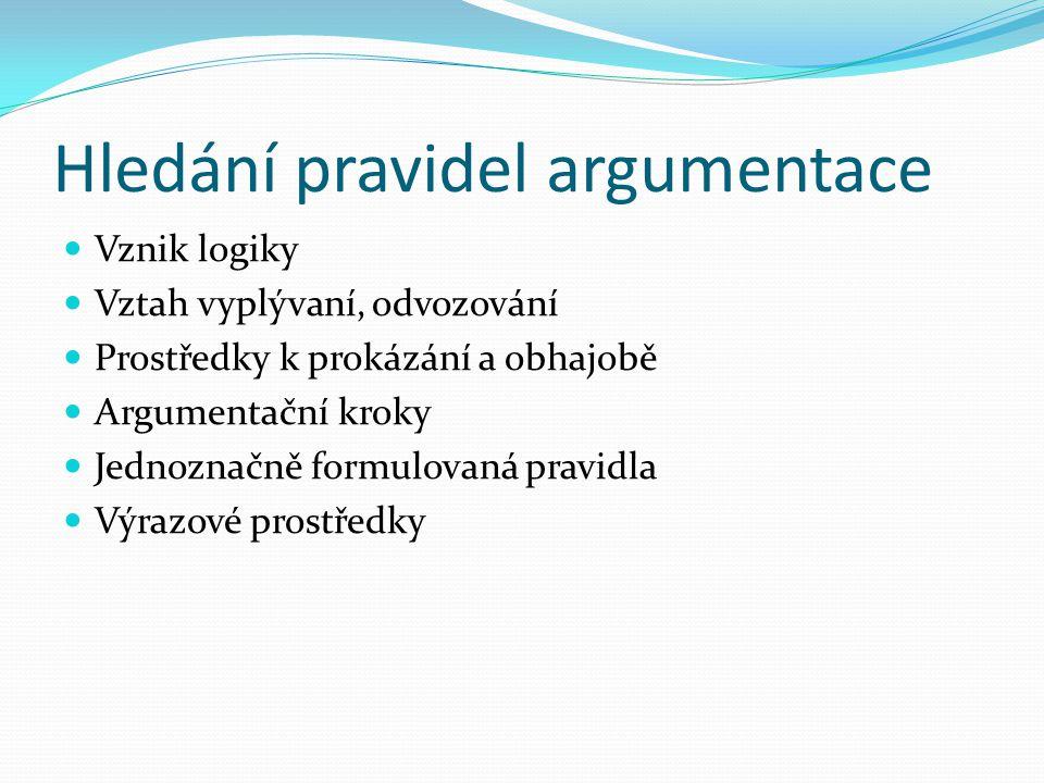 Hledání pravidel argumentace Vznik logiky Vztah vyplývaní, odvozování Prostředky k prokázání a obhajobě Argumentační kroky Jednoznačně formulovaná pravidla Výrazové prostředky