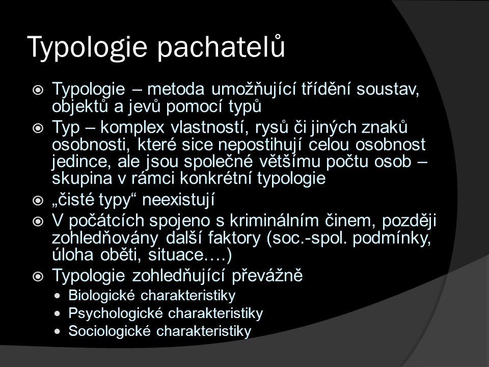 Typologie pachatelů  Typologie – metoda umožňující třídění soustav, objektů a jevů pomocí typů  Typ – komplex vlastností, rysů či jiných znaků osobn