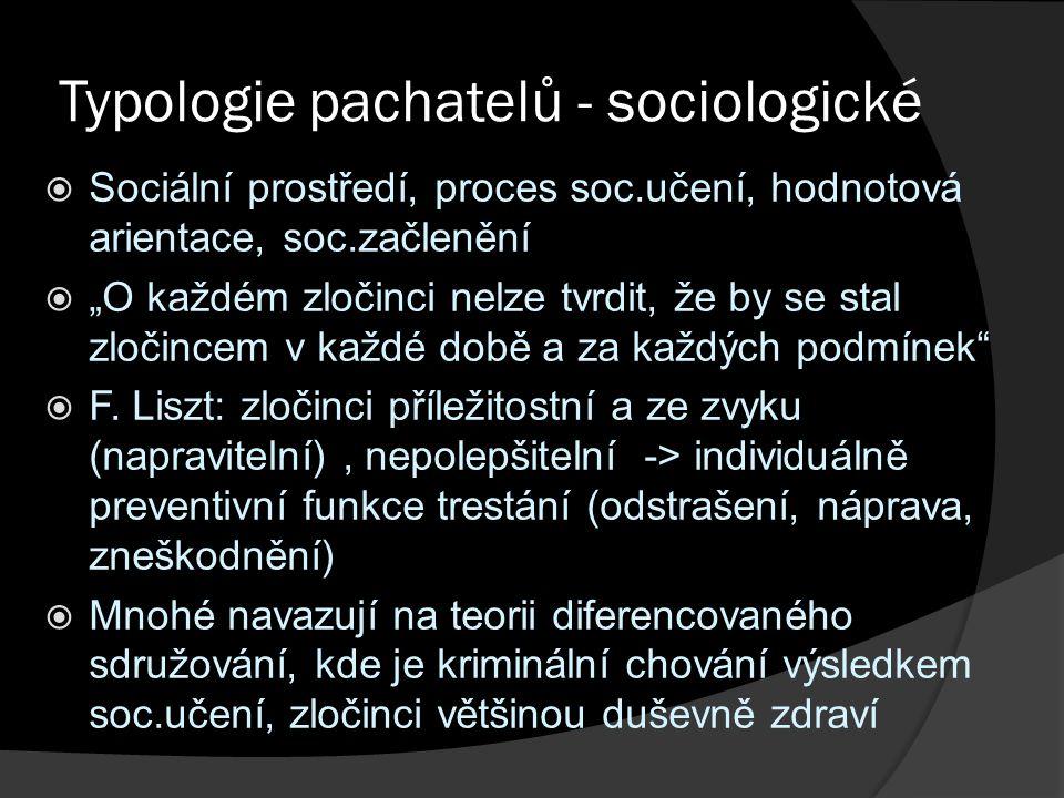 """Typologie pachatelů - sociologické  Sociální prostředí, proces soc.učení, hodnotová arientace, soc.začlenění  """"O každém zločinci nelze tvrdit, že by"""