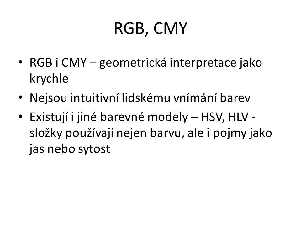 RGB, CMY RGB i CMY – geometrická interpretace jako krychle Nejsou intuitivní lidskému vnímání barev Existují i jiné barevné modely – HSV, HLV - složky