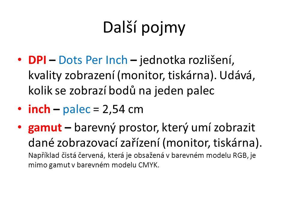 Další pojmy DPI – Dots Per Inch – jednotka rozlišení, kvality zobrazení (monitor, tiskárna). Udává, kolik se zobrazí bodů na jeden palec inch – palec