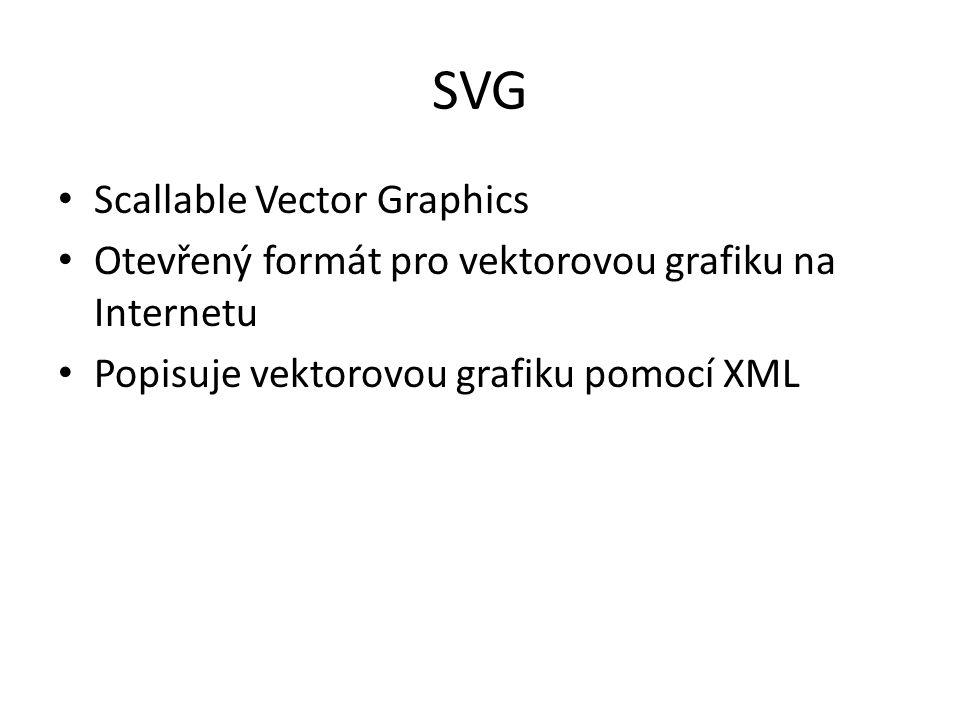 SVG Scallable Vector Graphics Otevřený formát pro vektorovou grafiku na Internetu Popisuje vektorovou grafiku pomocí XML