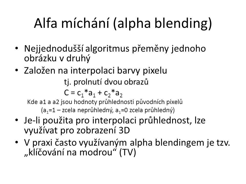 Alfa míchání (alpha blending) Nejjednodušší algoritmus přeměny jednoho obrázku v druhý Založen na interpolaci barvy pixelu tj. prolnutí dvou obrazů C